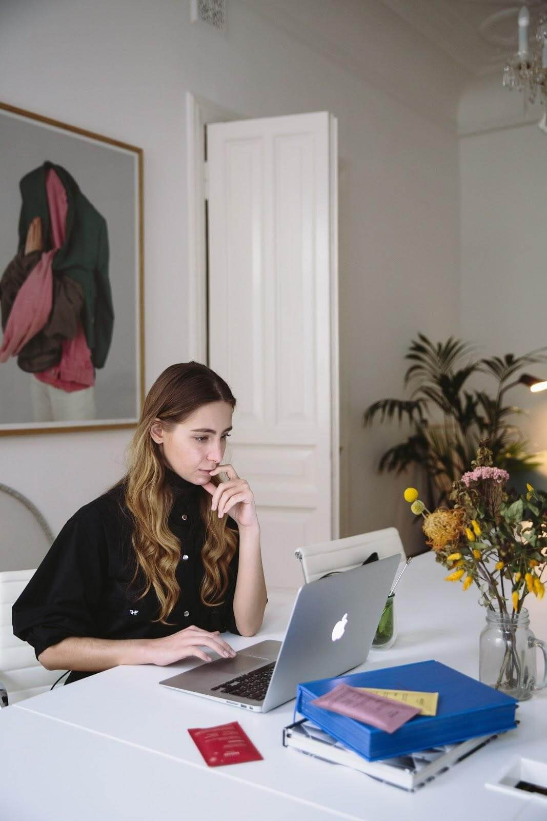 woman searching lawyers on computer